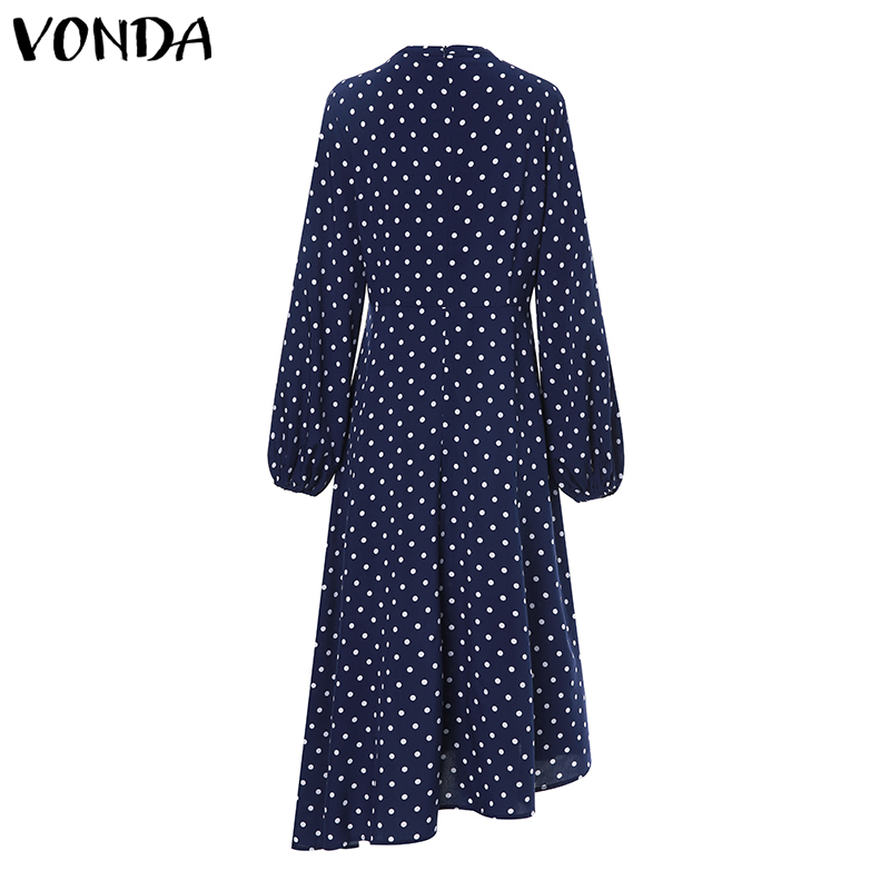 VONDA Bohemian Dresses 2019 Autumn Women Long Sleeve Vintage Polka Dot O Neck Dress Casual Loose Midi Dress Plus Size Sundress in Dresses from Women 39 s Clothing