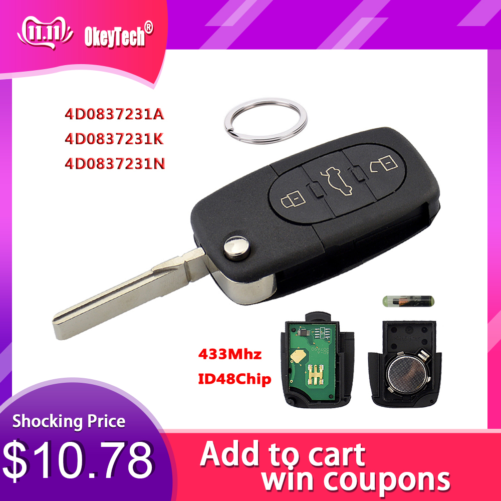 OkeyTech 433 МГц 3 кнопки дистанционного ключа автомобиля для AUDI 4D0837231A 4D0837231K 4D0837231N флип Фолд ID48 чип для A3 A4 A6 A8 старые модели-in Ключ авто from Автомобили и мотоциклы on AliExpress - 11.11_Double 11_Singles' Day