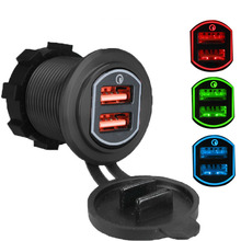 12-24V QC3.0 18W Dual USB Car Charger Waterproof Motorcycle Ignition Lighter Socket