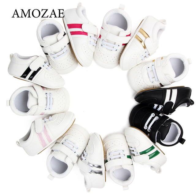2020 Baby Shoes Newborn Boys Girls Two Striped First Walkers Kids Toddlers Lace Up PU Leather Soft Soles Sneakers 0-18 Months 1