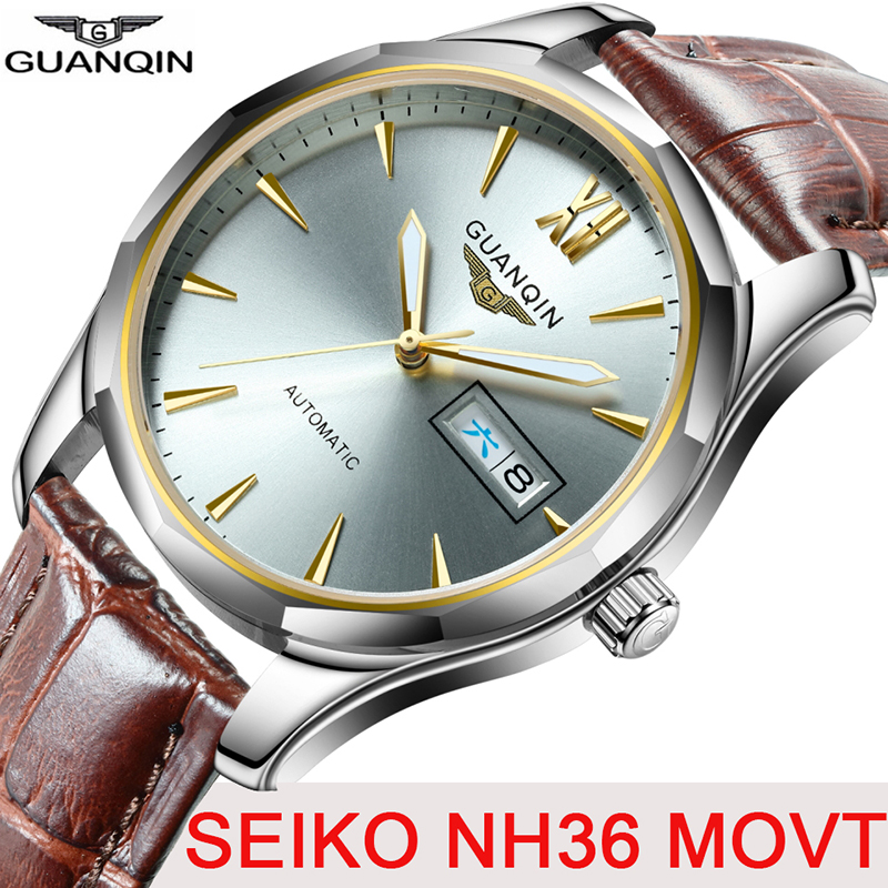 GUANQIN Men Automatic Mechanical Japan NH36 Movement Waterproof Sapphire Watches Men Luxury Brand Wristwatch Relogio Masculino