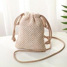 Женская богемная плетеная солома, сумка из ротанга, плетеная Сумка, пляжная сумка для женщин, сумка-мешок на шнурке для женщин