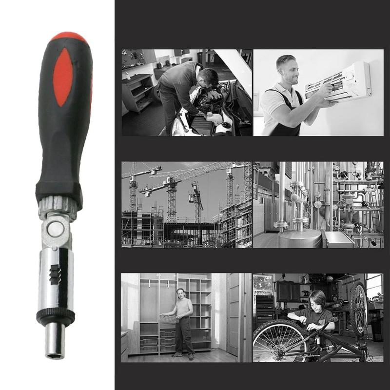 T-type Ratchet Screwdriver 6.35mm Rotary Forward Reverse Quick Bolt Driver Batch 180 Degree Rotation For Multiple Angles