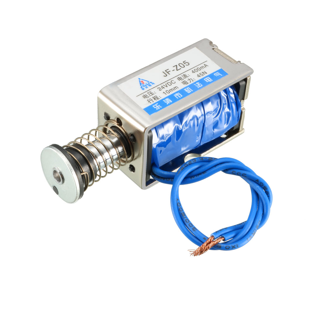 Uxcell JF-Z05 DC 24V 400mA 45N 10mm Pull Push Type Open Frame Linear Motion Solenoid Electromagnet