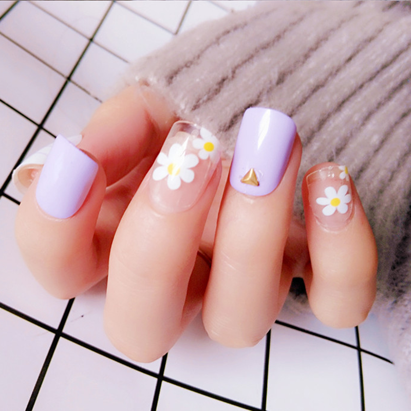 Taro Purple Artificial Fake Fingernails For Lady Short False Nails With Design Acrylic Full Cover Tips Manicure Tool
