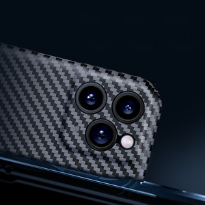 Image 2 - Luxury Real 3D Carbon Fiber Kevlar 0.6mm Thiness Slim Sport Camera Lens Protectiove Case Cover For iPhone 12 11 12Pro 11Pro Max