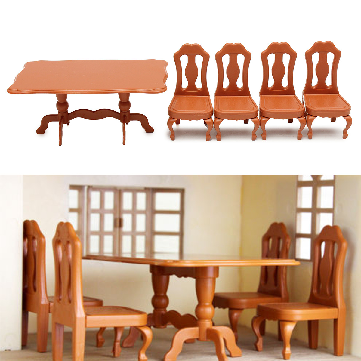 5pcs DIY Miniatura Furniture Dining Tables Chairs Sets For Mini Doll House Miniatures Furniture Toys Gifts For Children Adult