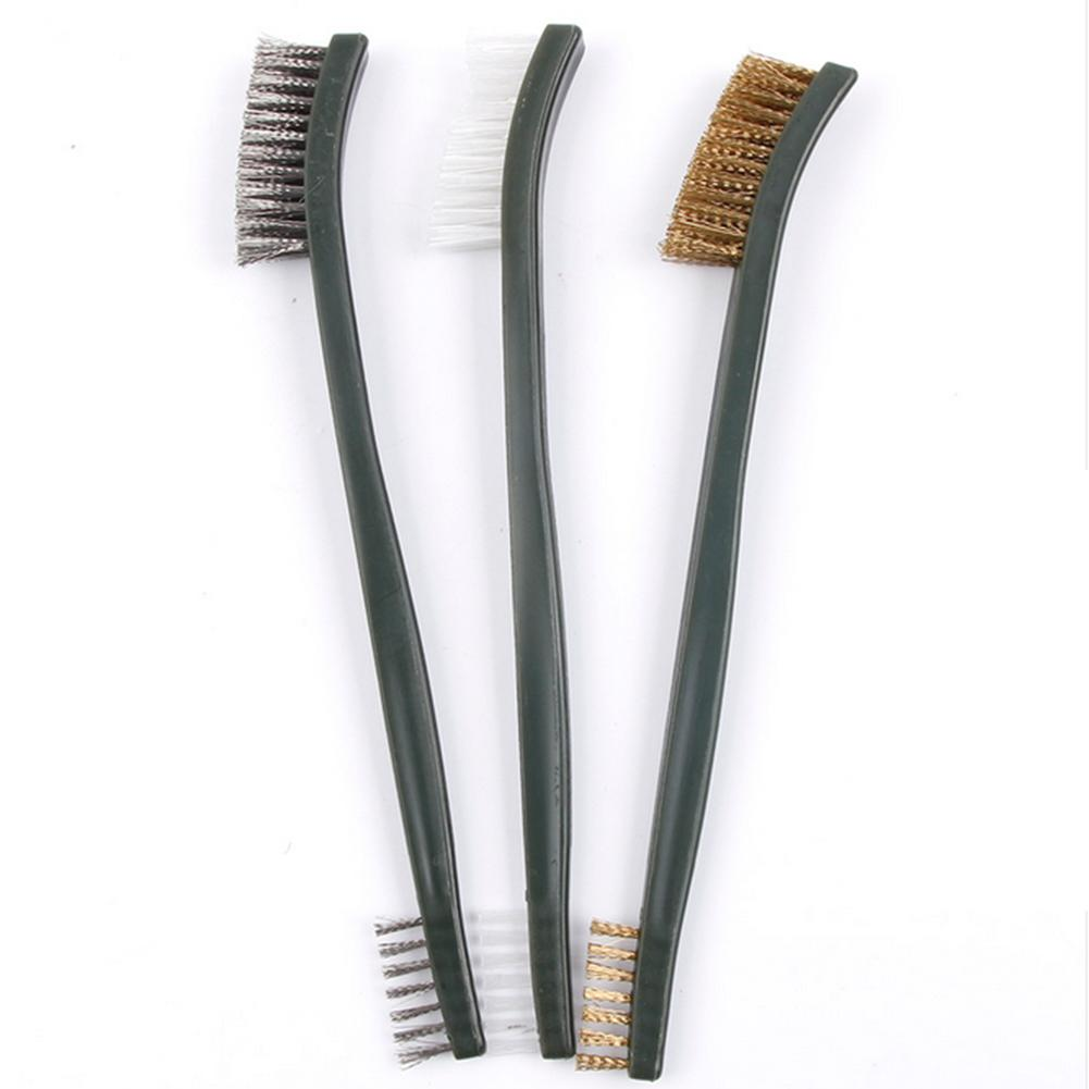 3 pcs Mini Wire Brush Set Steel Brass Nylon Cleaning Polishing Detail Metal Rust Brush