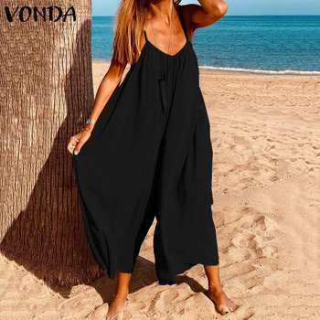 2021 Rompers Women Jumpsuits Summer Sleeveless Playsuits Sexy Wide Leg Pants VONDA Female Casual Loose V Neck Overalls Plus Size xuru women cold shoulder wide leg pants jumpsuits female overalls sexy party jumpsuit women s loose plus size jumpsuits