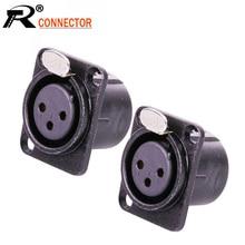 10pcs/lot 3 Pin XLR Female Jack Panel Mount Metal Shell Nickel Plated 3 Poles XLR Socket Chassis Black Color