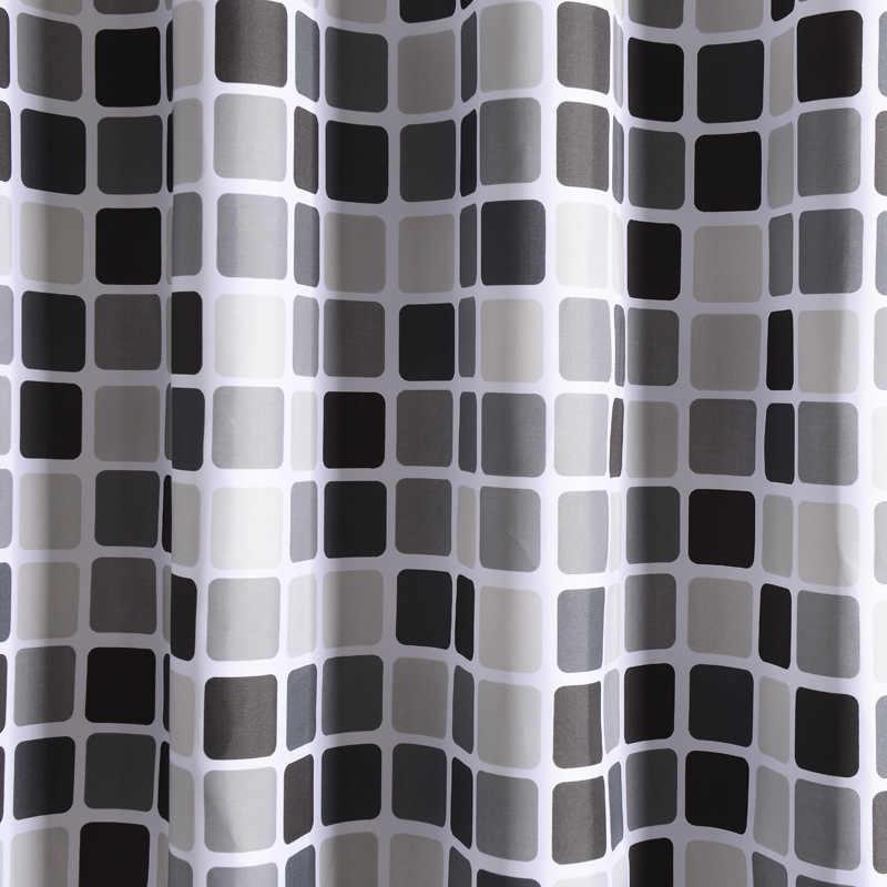 Xadrez cortina de chuveiro à prova dgeometric água com 12 ganchos geométrico cortinas do banheiro conjunto poliéster tecido cortina banho para decoração casa