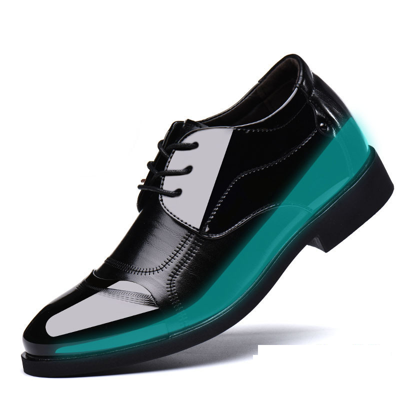 6CM Invisible Height Increase Patent Leather Shoes For Men Wedding Groomsman Extravagant Elegant Dress Shoes Men Business Shoes