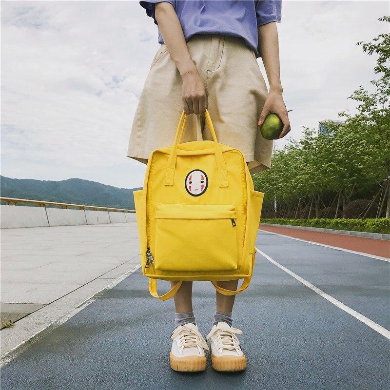 Chinese Face Women Backpack For Teenage Canvas Spirited Away Ulzzang Student Girls Schoolbag Female Back Packs Mochila Satchel