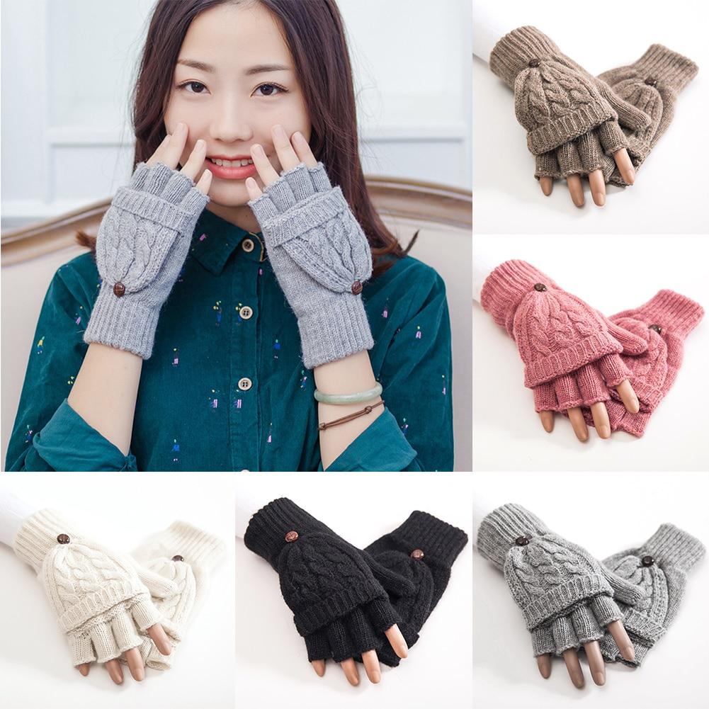 1 Pair Half Finger Gloves Women Hand Warmer Flip Gift Mittens Gloves Knitted Thicken Artificial Wool Thermal Autumn