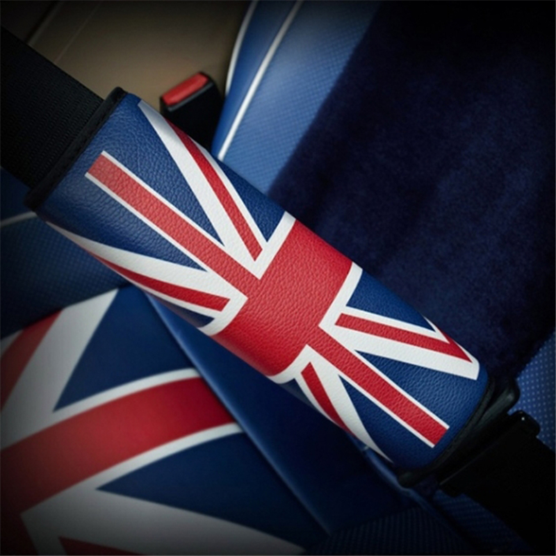 UK Flag Car Driver Passenger Pu Leather Seat Belt Shoulder Pad Cover Car Styling SUV Airplane Camera Backpack Straps image