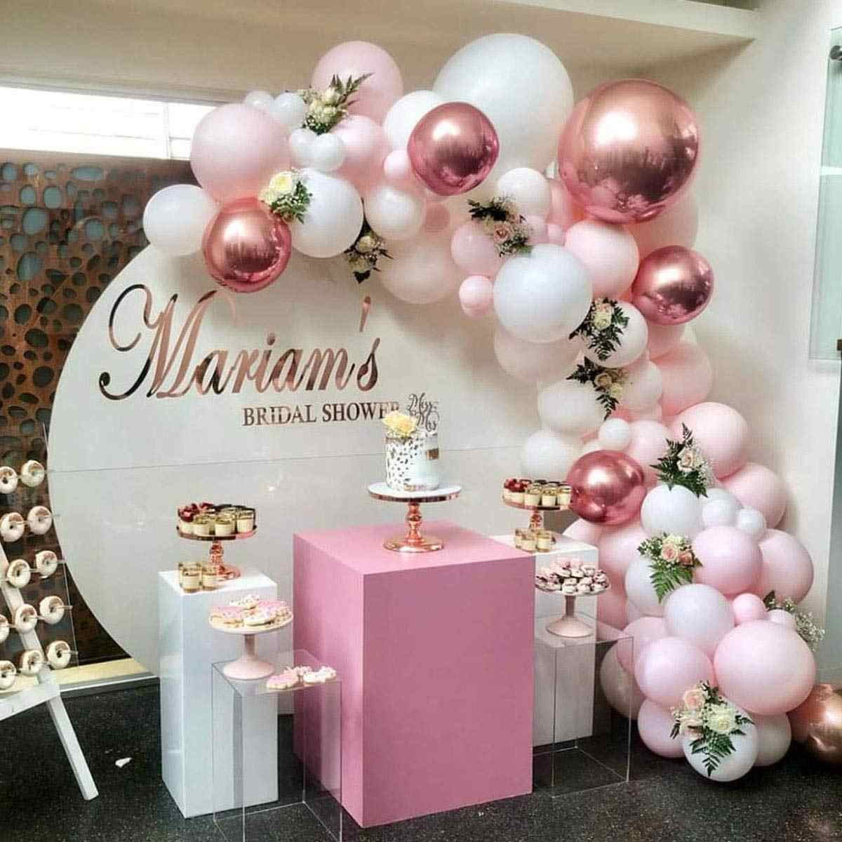 101 DIY Balloons Garland Arch Kit Rose Gold Pink White Balloon for Baby Shower Bridal Shower Wedding Birthday Party Decorations
