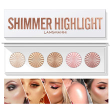 5in1 Makeup Highlighter Palette For Face Shoulder Shimmer Glow Up Hightlight Coutour Plate Luster 3D Nature Brighten Cosmetics