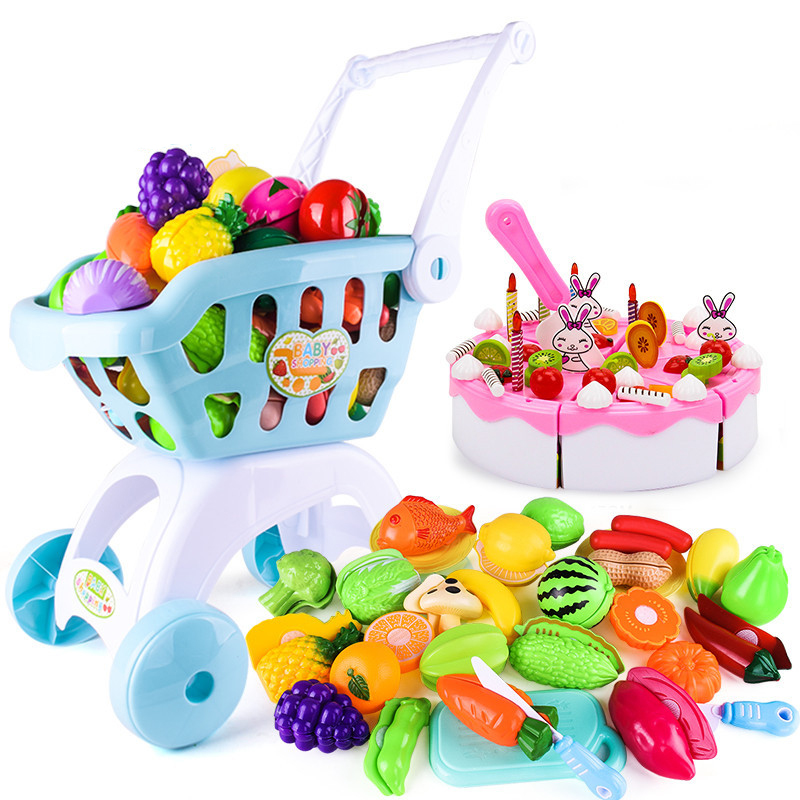 Kids Pretend Play Shopping Cart Supermarket Shopping Groceries Cart Trolley Toys Kitchen Simulation Cutting Fruits Cake Toys