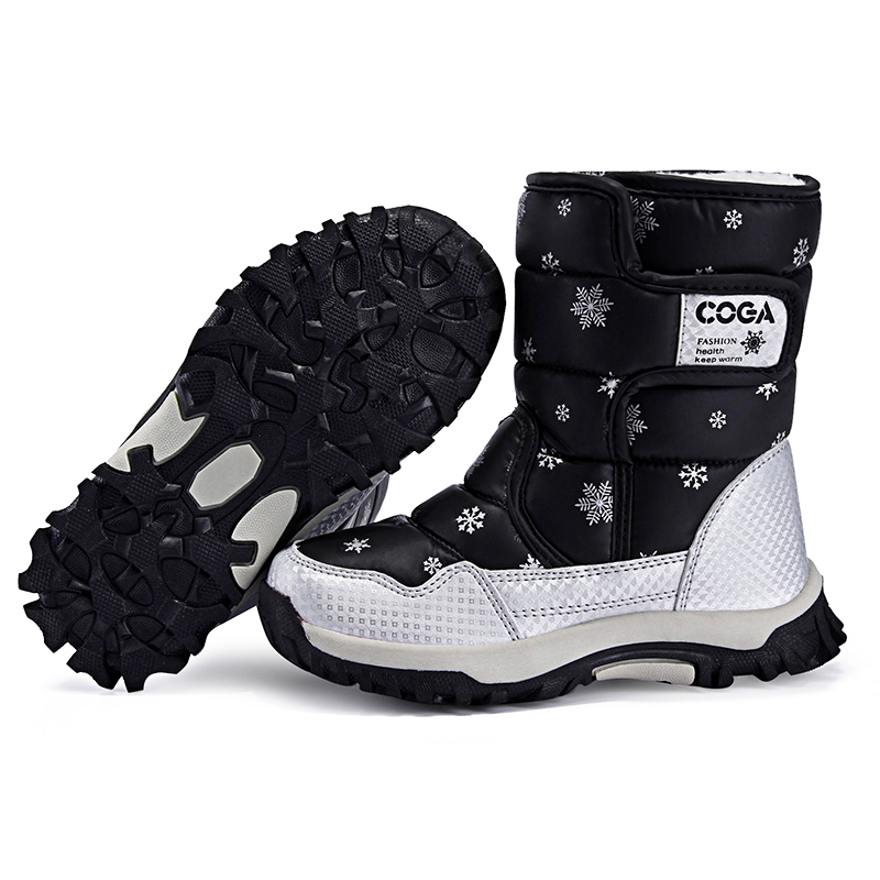 RUIFF Children Boots Girls Shoes Winter Boots  Plush Kids Shoes Water-Proof Hiking Shoes Students Sneakers Children Boots