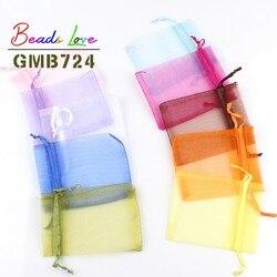 50 adet/grup 5x7cm 7x9cm 9x12cm 10x15cm İpli organze çantalar takı ambalaj çanta şeker düğün çanta toptan hediyeler torbalar