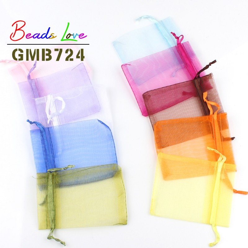 50pcs/lot 5x7cm 7x9cm 9x12cm 10x15cm Drawstring Organza Bags Jewelry Packaging Bags Candy Wedding Bags Wholesale Gifts Pouches(China)
