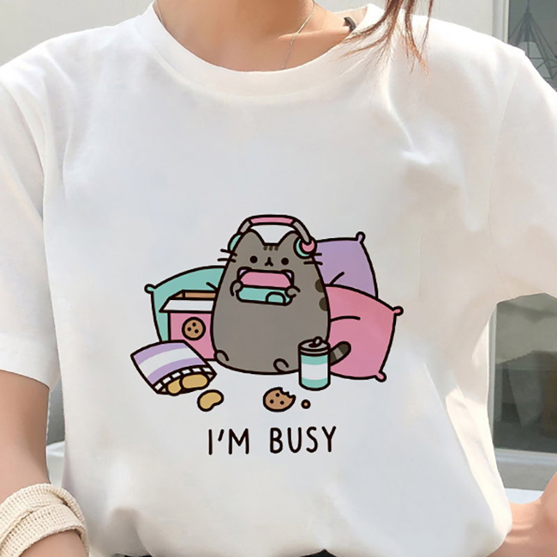 Kawaii Fat Cat T Shirt Women 2019 New Summer Cute Fashion Short Sleeve T-shirt White Thin Section Hipster Tshirt Tops Clothing