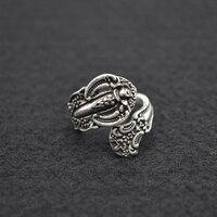 50pcs Vintage Flower Spoon Ring Elegant Open Adjustable Ring Joint Ring Anniversary Gift For Women