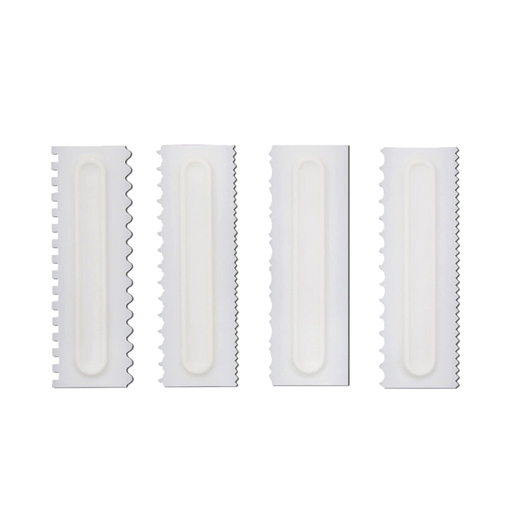 4PCS Shapes Cake Decorating Comb Icing Smoother Cake Scraper Pastry Baking Tool