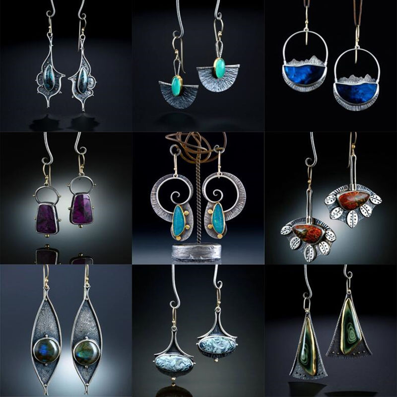 Boho Ethnic Imitate Blue Opal Stone Spirals Earrings For Women Girl Vintage Handmade Metal Swirl Shape Drop Earring Pendientes
