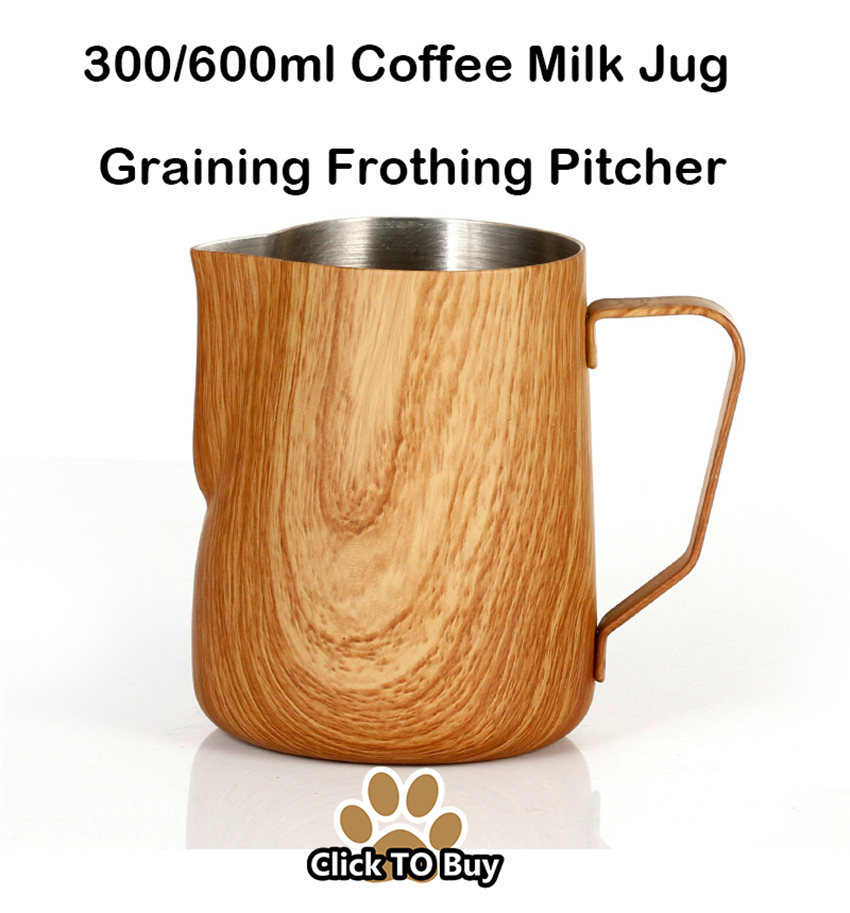 Coffee-Milk-Jug-300-600ml-Graining-Stainless-Steel-Frothing-Pitcher-Pull-Flower-Cup-Espresso-Frothers-Mug