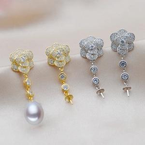 Image 4 - MeiBaPJ 2 Farben Echt 925 Sterling Silber Lange Kette Blume Schmuck Set Reis Perle Anhänger Ohrringe Hochzeit Schmuck für Frauen