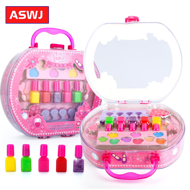 Fashion Girls Make Up Toy Nail Polish Set Pretend Play Princess Pink Makeup Beauty Safety Non-toxic Toy Girl Princess Dream Gift