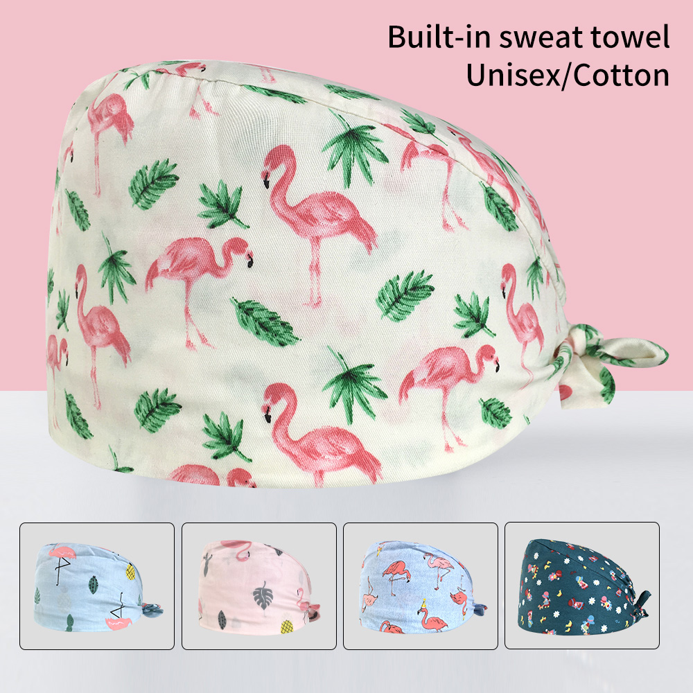 High Quality Unisex Pet Hospital Doctor Cap Operating Room Work Hat Printing Surgical Caps Medical Scrubs Work Nurse Accessories