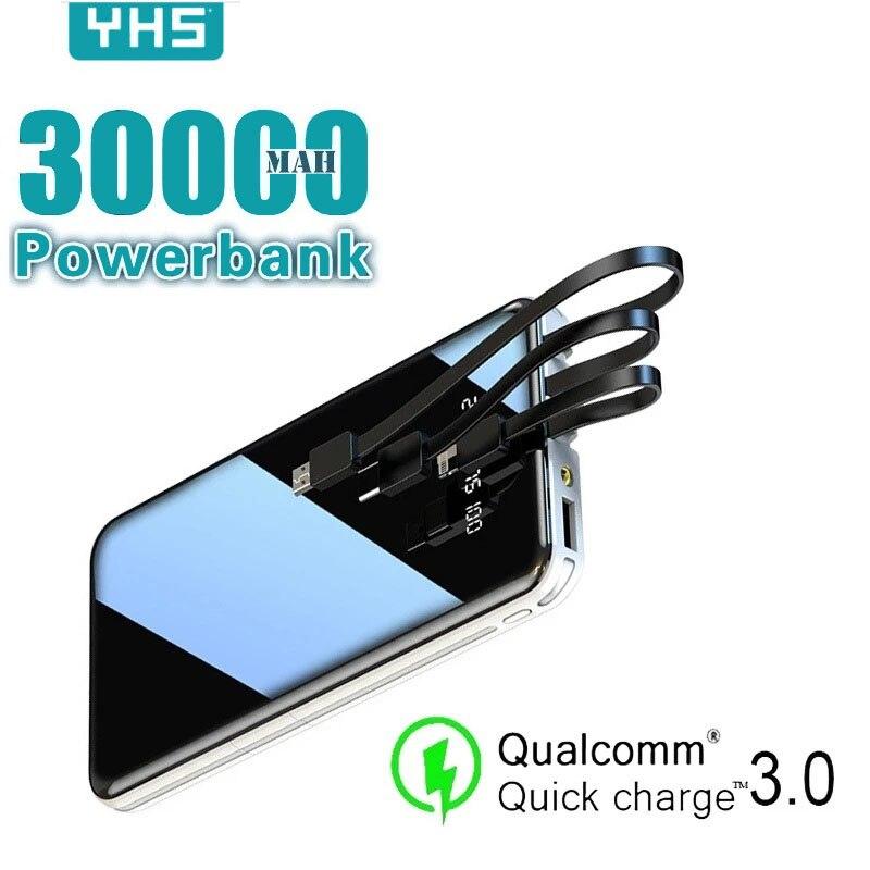 Batterie externe de charge rapide de secours extérieure portative du plein écran 3USB de la batterie 30000mAh de puissance Mobile pour l'iphone de Samsung Xiaomi