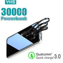 Mobil güç banka 30000mAh tam ekran 3USB taşınabilir açık acil hızlı şarj harici pil Samsung Xiaomi Iphone