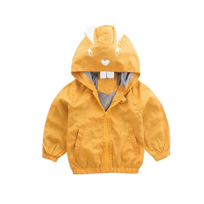 2021 Spring Rabbit Yellow Infant Baby Girls Coat Windbreaker for Girls Boys Jacket Coat for Girls Children's Clothing Kid Trench