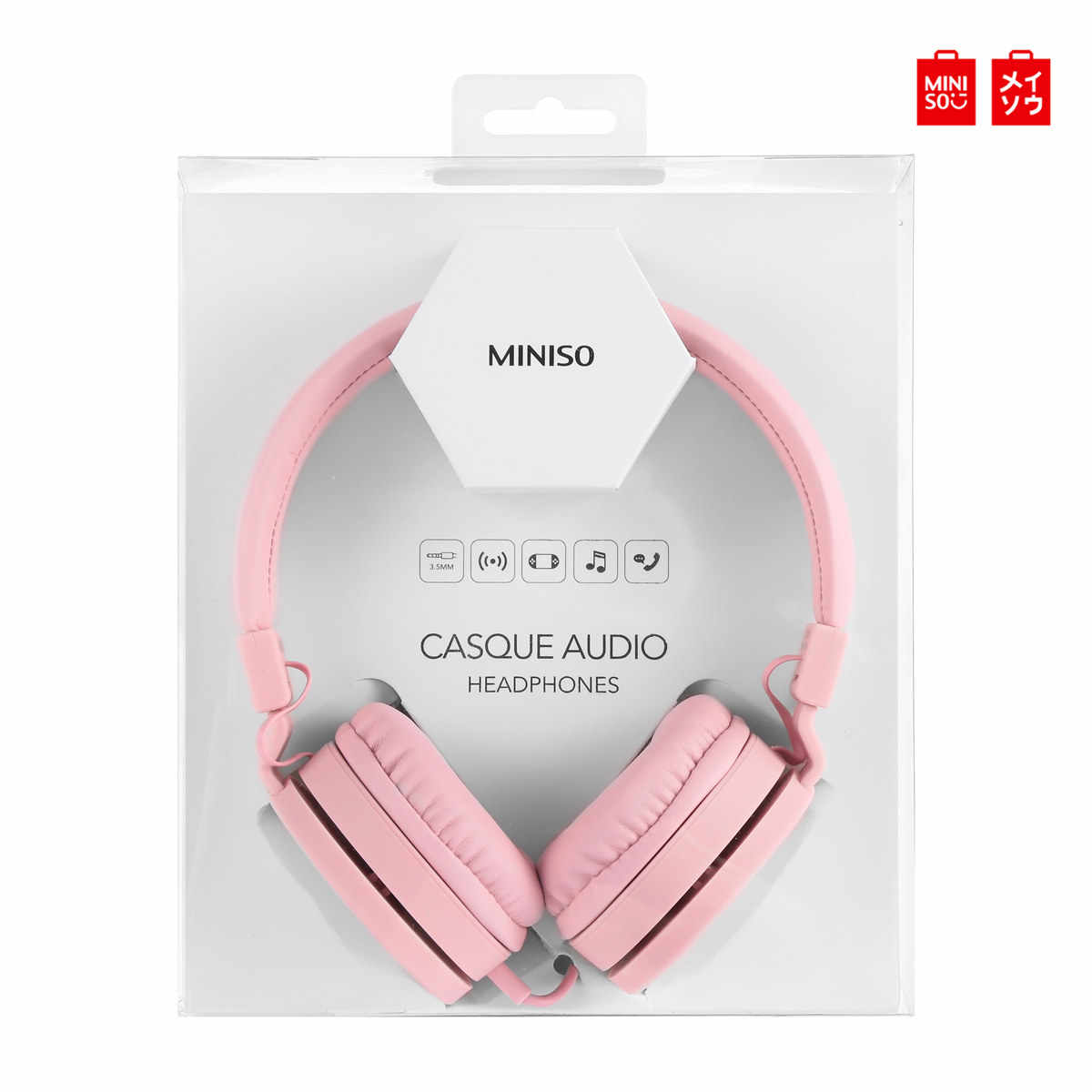 Miniso HM001 Folding Musik Headphone 3.5 Mm Wired Earphone Heavy Bass Headset Hi-Fi Stereo Headset Concision Style