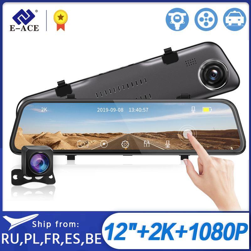 Retrovisor para carro E-ACE a38 2k, dvr 12 Polegada touch ips, lente dupla, sensor-g gravador de vídeo com lente de visão traseira