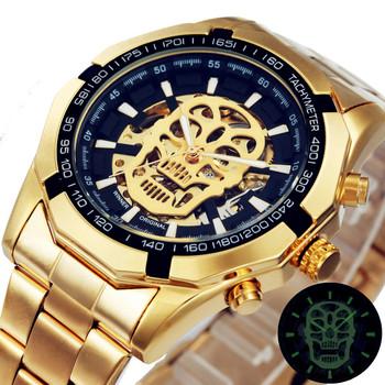 Zwycięzca mężczyźni mechaniczne czaszki zegarki zwycięzca Top luksusowej marki ze stali nierdzewnej z motywem szkieletu zegarki mechaniczne mężczyzn zegarek tanie i dobre opinie T-WINNER 3Bar Składane bezpieczne zapięcie Moda casual Samoczynny naciąg 24cm STOP Odporna na wstrząsy Brak W-A621 mechanical watch