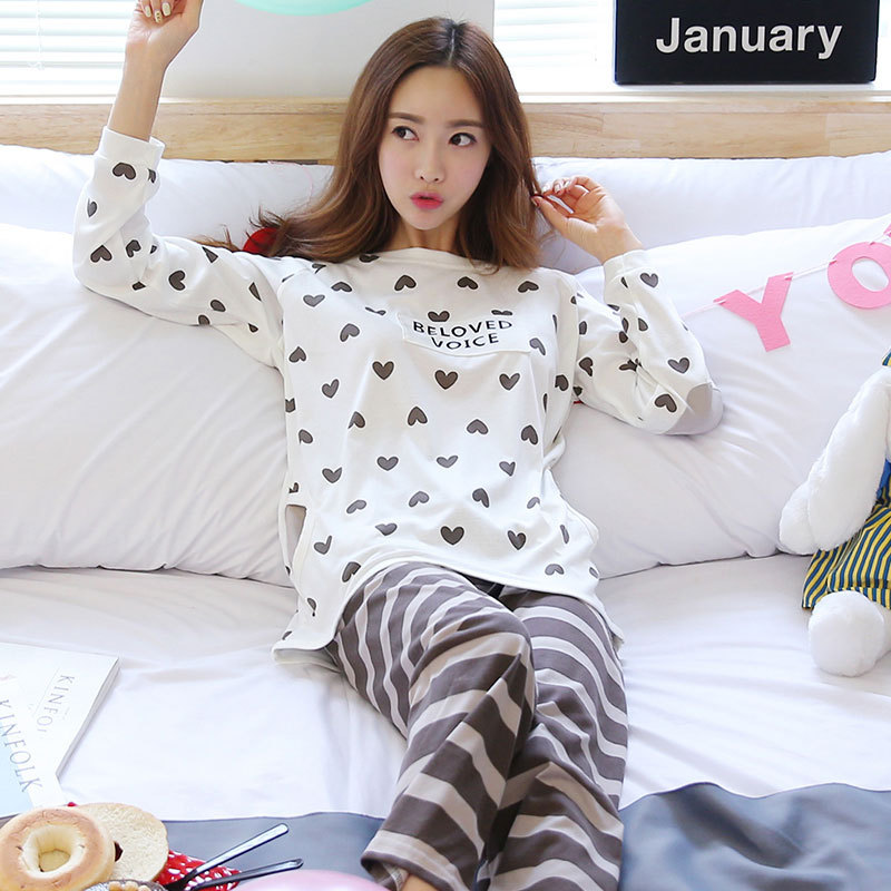 Jun Xin Spring And Autumn Korean-style WOMEN'S Pajamas Cute Peach Heart Stripes Brown Pants Thin Long Sleeve Qmilch Home