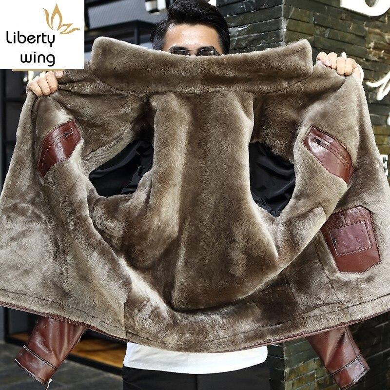 Winter Business Men Genuine Leather Jacket Thick Wool Lining Short Coat Office Work Luxury Sheepskin Shearling Jackets Plus Size