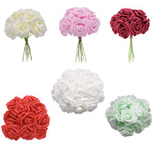 10/20/30pcs 8cm Artificial PE Foam Rose Flowers Bridal Bouquet For Wedding Table Home Party Decor DIY Fake Flower Decoration