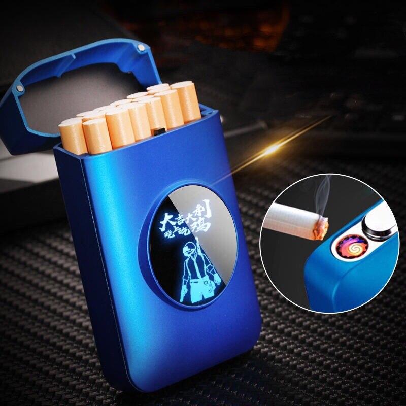 Креативный Графический светодиодный чехол для сигарет, 20 шт., держатели для сигарет, электрическая плазменная дуговая зажигалка, usb-зажигал...