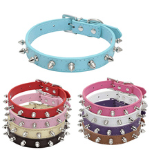 Colorful Leather Rivet Spiked Puppy Necklace Studded Pet Dogs Collars Adjustable Collar Neck  Pitbull Bulldog