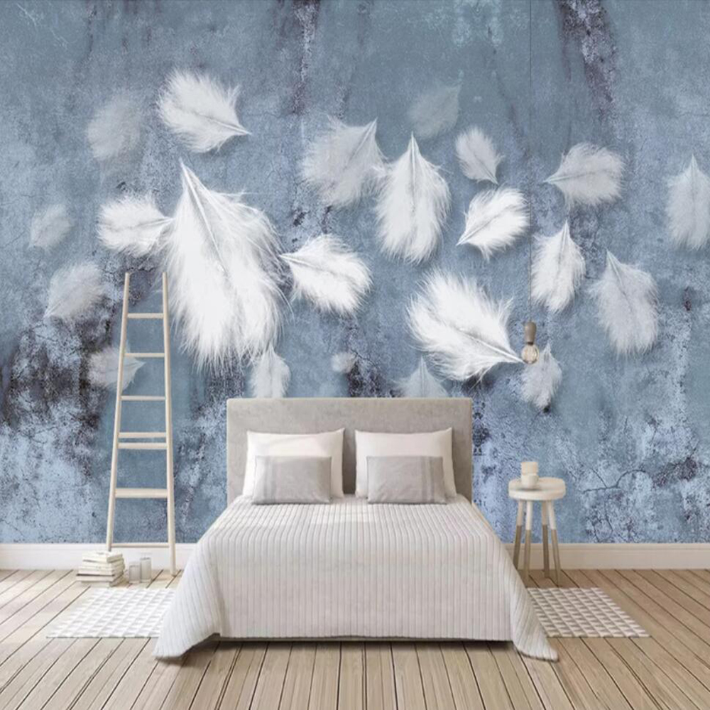 Drop Shipping Custom Large 3D Wallpaper Mural Nordic Minimalist White Feather Texture Art Wall Decoration Wallpaper Mural