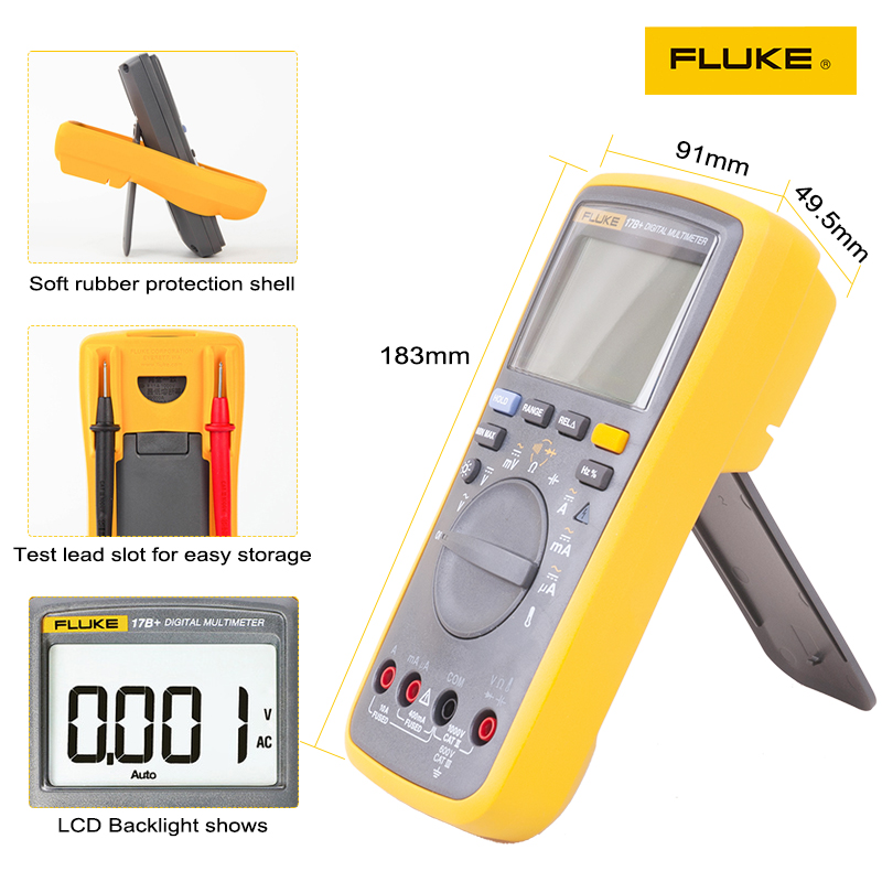 Tools : Fluke 17B  Auto Range Digital Probe Multimeter Meter Temperature  amp  Frequency