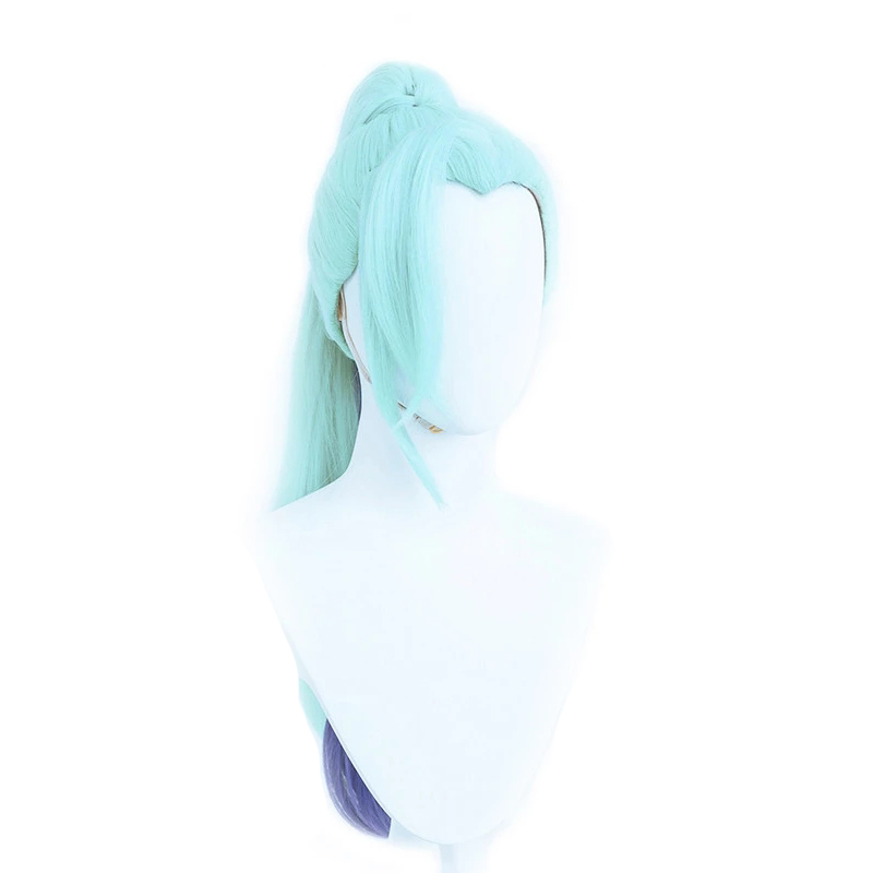 Spirit Blossom Vayne Wig Cosplay Costume Game LOL Vayne Mint Green Mixed Blue Hair with Ponytail Synthetic Heat Resistant Hair