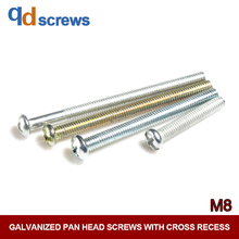 4.8 M8 Pan head screws with cross recess Phillips round screw galvanized GB818 DIN7985 ISO 7045