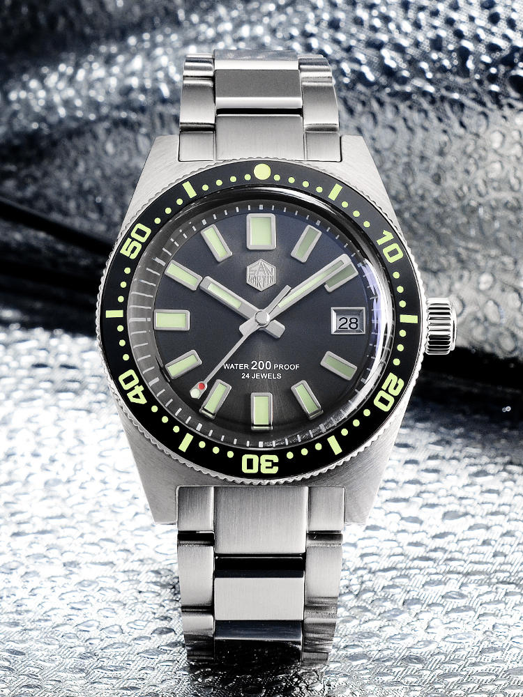 Diver Watch Mechanical-Watches Date Logo 20bar San Martin Sapphire 62mas NH35A Hexagon
