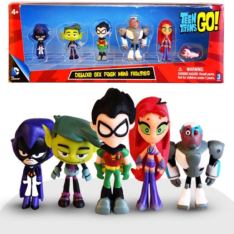 Set Figure Teen Titans Go Action Figure Robin Raven Beast Boy Starfire Mini Figurine Toys PVC Model Kids Birthday Toy